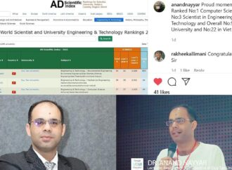 Dr. Anand Nayyar Ranked No.1 Computer Scientist By AD Scientific Index.